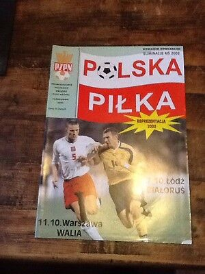 Poland v Wales WC Qualifier programme 11/10/00