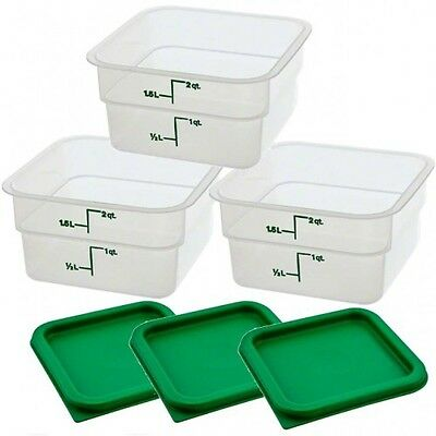 Cambro, 2 qt CamSquare® Food Storage Containers and lids, set of 10, used