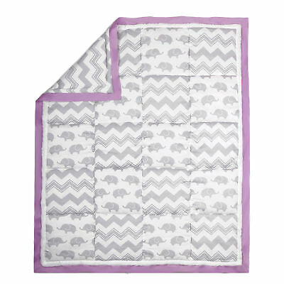 Grey Elephant and Zig Zag with Purple Accents Crib Quilt by The Peanut Shell