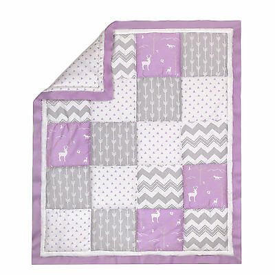Purple and Grey Woodland Patchwork Cotton Crib Quilt by The Peanut Shell
