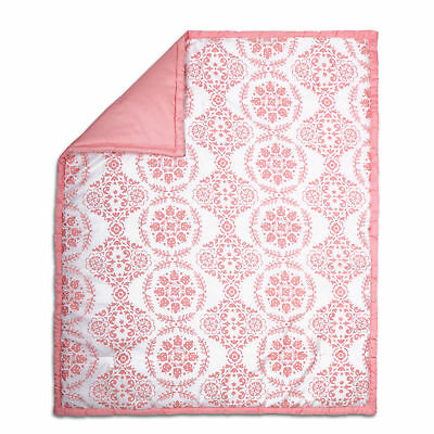 Coral Pink Medallion and Solid 100% Cotton Baby Crib Quilt by The Peanut Shell