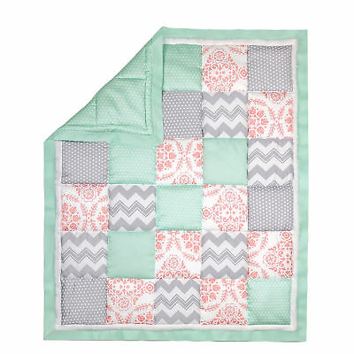 Coral Pink, Grey and Mint Patchwork Crib Quilt by The Peanut Shell