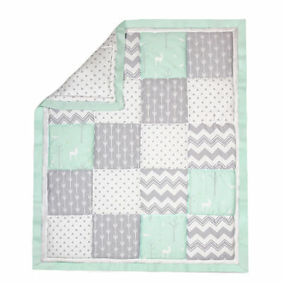 Mint Green and Grey Woodland Patchwork Cotton Crib Quilt by The Peanut Shell