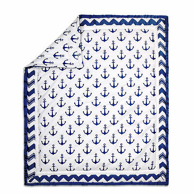 Navy Blue and White Nautical Theme Baby Crib Quilt by The Peanut Shell