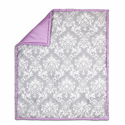 Grey Damask and Purple Reversible 100% Cotton Crib Quilt by The Peanut Shell