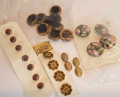 Lot Of Quality Carded Vintage Buttons - Gilt Glass Enamel Porcelain