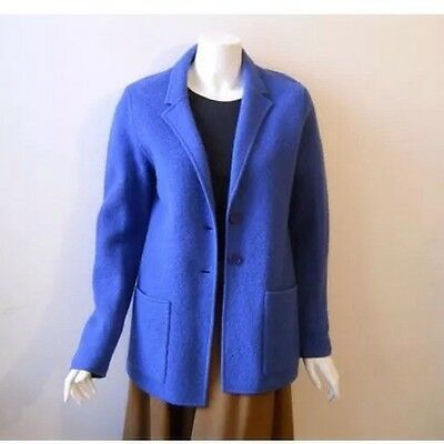 VINTAGE 90s Wool Sweater Blazer Blue Minimalist Avant Garde Bright Tailored 80s