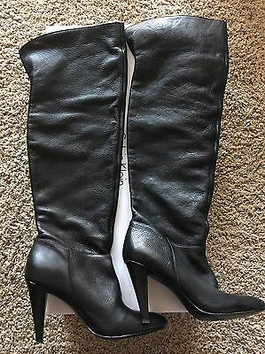 Calvin Klein Back Catrice Waxy Tumbled Leather Over the Knee Boots size 8