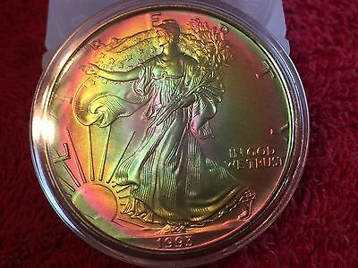 1993-American Silver Eagle $1 Beautiful Rainbow ColorToned-1OZ Silver In Capsule