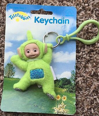 Teletubbies Keychain New Green Dipsy Plush Vintage on Card Applause