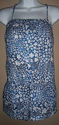 Women's Hollister - Size XS - Blue White Floral Sleeveless Shorts Romper