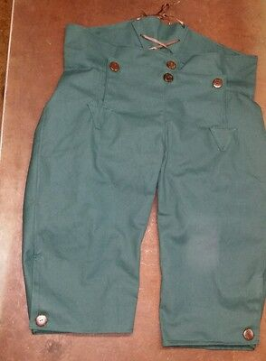 Broadfall Knee Britches for fur trade re-enactments. Sz. 38 Spruce green