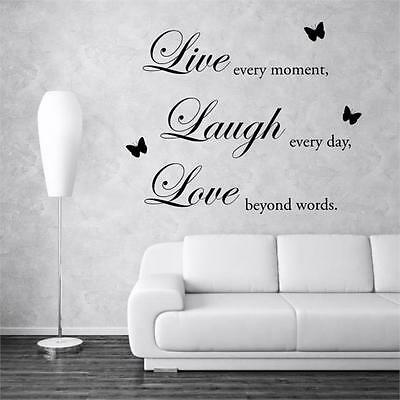 Large Live Love Butterfly wall sticker bedroom stickers decal vinyl art quote
