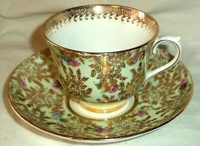 Colclough Tea Cup & Saucer Mint Green & Gold Lace Chintz Longton England