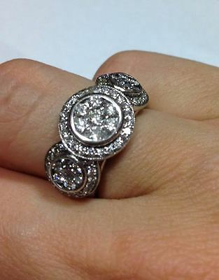 $5250 1.5-2ct Diamond Solid 18ct White Gold Cluster Dress Engagement Ring