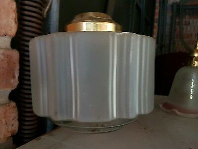 Art Deco Frosted Glass Ceiling Lamp Brass Fittings