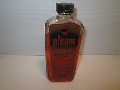 Gulf Oil Art Deco Glass Bottle Gleam Furniture Polish