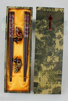 2Pairs Chinese Handmade Vintage wooden Chopsticks& duck Support With Gift Box