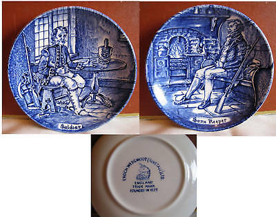 Beautiful 2 Wedgwood Blue Butter Pats Soldier & Keeper