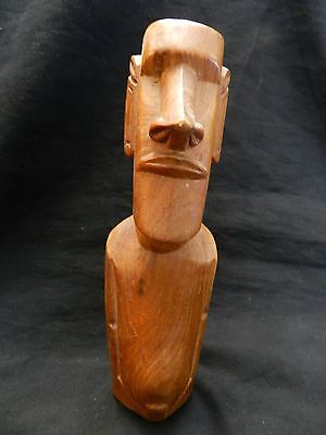 Easter Island Head Rapa Nui Moai Wooden Figure Hand Carved 8 1/2 inches tall