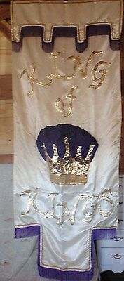 "Lord Savior ""King of Kings"" church banner Christian Large 9 ft by 44"" Exquisite"