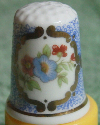 Vintage 1970's Bone China Thimble Flower Scene Birchcroft Made In England