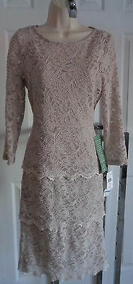 NEW Blu Sage mother of bride champagne beige floral lace tiered dress 16