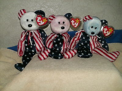 """Lot Of 3 Ty Beanie Baby Bears  """"spangle"""" U.s.a. Exclusive ~ All 3 Colors"""