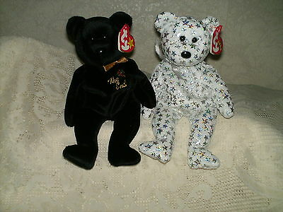"""Lot Of 2 Ty Beanie Baby Bears  """"the End"""" & """"the Beginning"""""""