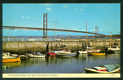Forth Road Bridge at South Queensferry Harbour Sailboats UK Postcard
