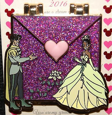 Disney Parks Love Letters Tiana Princess & Frog Naveen LE Slider Pin of Month