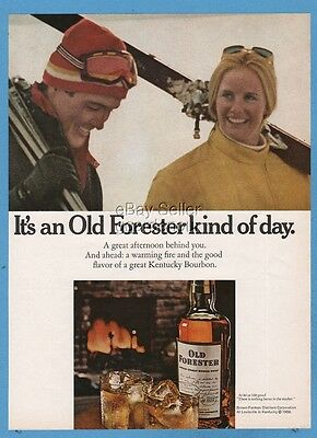 1971 Old Forester Whisky snow skiing skiers vintage print photo ad