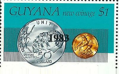 """Guyana Stamp: Overprint """"1983"""" on $1 New Coinage Stamp Sc.# 594"""