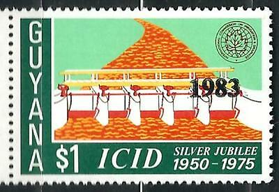"""Guyana Stamp: Overprint """"1983"""" on $1 Anniv. of  Irrigation and Drainage Sc.# 592"""