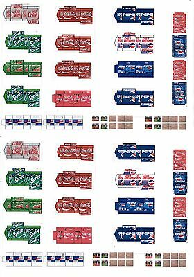 New 1:48 O Scale Uncut Semi Gloss Self Adhesive Drink Carton Sticker Templates
