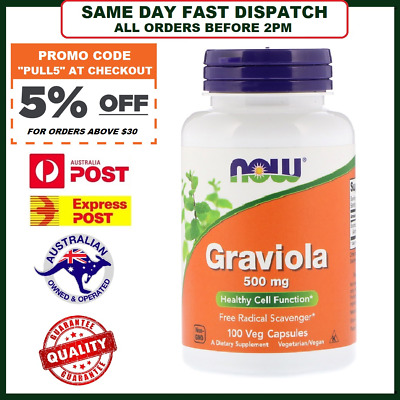 Graviola (Soursop) 500mg 100 Capsules NOW Foods - FAST SHIP AUST - Leaf Extract
