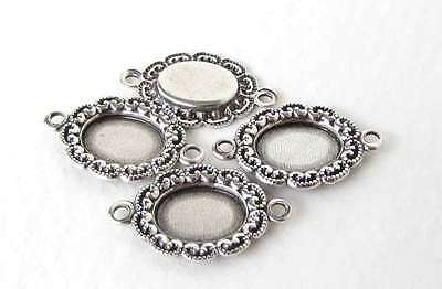 Filigree Setting Antique Silver Ox Connector Cameo Cabochon Bezel 8x6mm