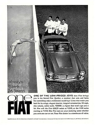 1962 Fiat Spider and 600/D vintage ad - original and classic! 1963