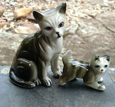 Two Beautiful Vintage Grey Kitty Cat Figurines