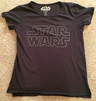 Star Wars Womens Tshirt Cotton Light Black with Gray Lettering Size XS  H16