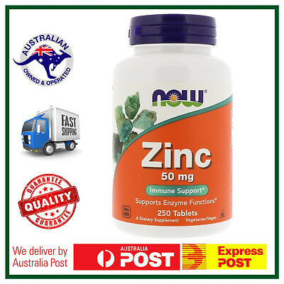 Zinc 50mg 250 Tablets by NOW Foods - Healthy Immine System ZMA Supplement AUS