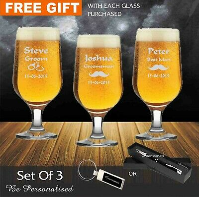 3 x Personalised Engraved 340ml Footed Beer Glass Wedding Favour Gifts Groomsman