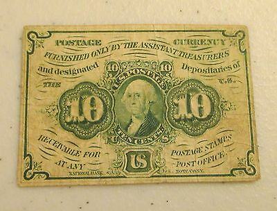 1862 U.S. 10 Cents 10C Postage Currency Fractional Note - Washington - Lot AD12