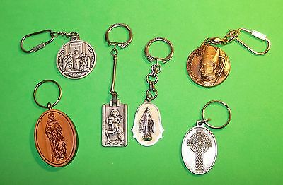 Nice Lot (6) Religious Key Rings Various Different Saints (5) Metal &  (1) Wood