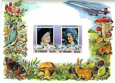 St. Vincent Souvenir Sheets: 3 Sheets of the Queen Mother (Perf & Imperf)