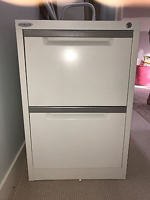 Steelco 2 Drawer White Filing Cabinet