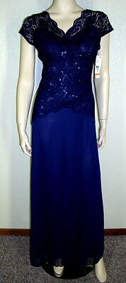 Onyx Nite NWT Size 10 Navy Cap Sleeves Sequined Lace Contrast Gown $119 7125