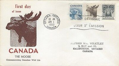 1953 #322-4 Canadian Wildlife Series FDC with Philatelic Supply cachet