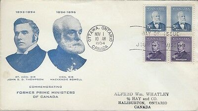 1954 Prime Minister Series #349-50 Thompson-Bowell FDC with unusual cachet #2