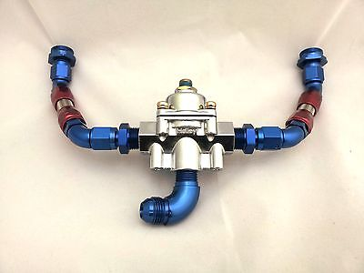 Holley Fuel Regulator Reg -6 Red & Blue Fittings Braid Braided Carburettor Hose
